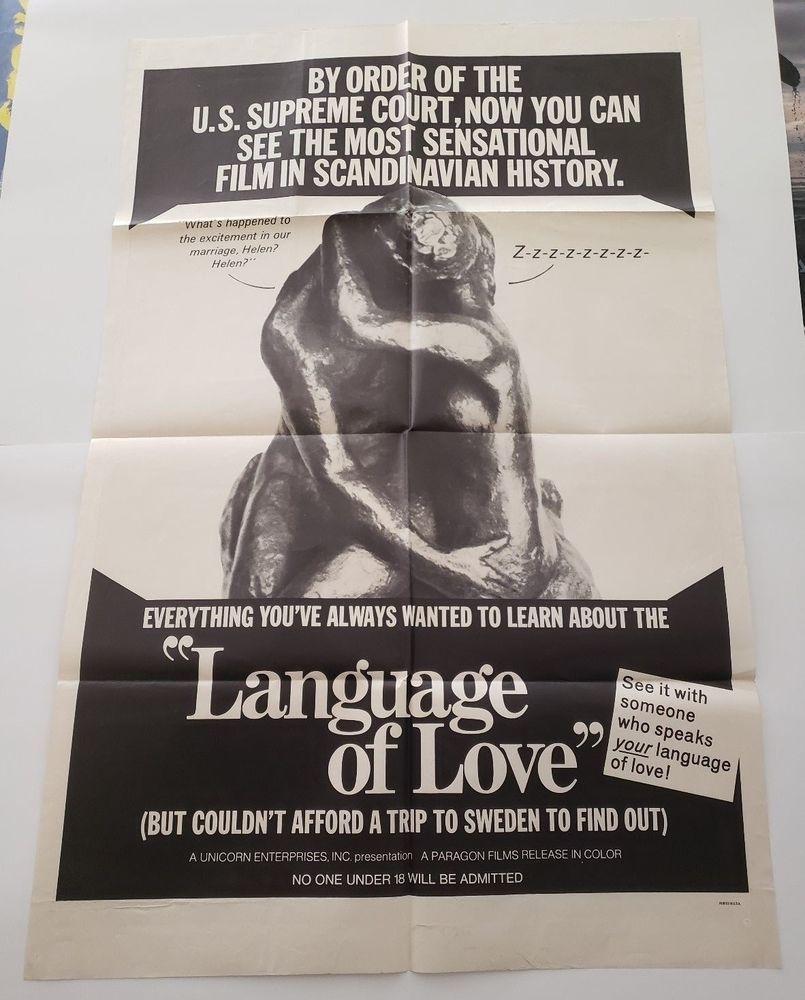 Language Of Love 1969 Original Movie Poster One Sheet 27 X41 Vintage Original Movie Posters Movie Posters Scandinavian History