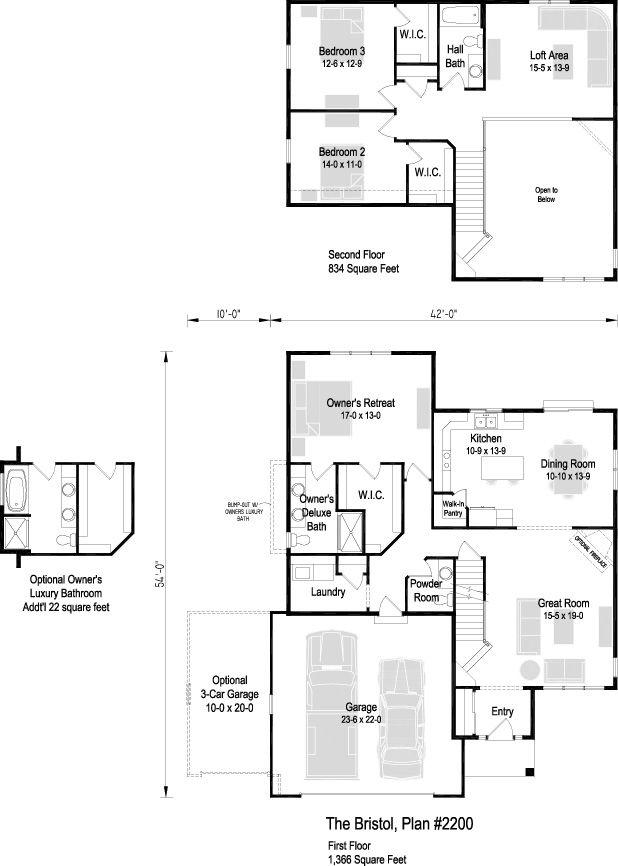 The Bristol, Plan 2200 | 1.5 story | 2,200 sq ft | 3 bedroom | 2.5 bath