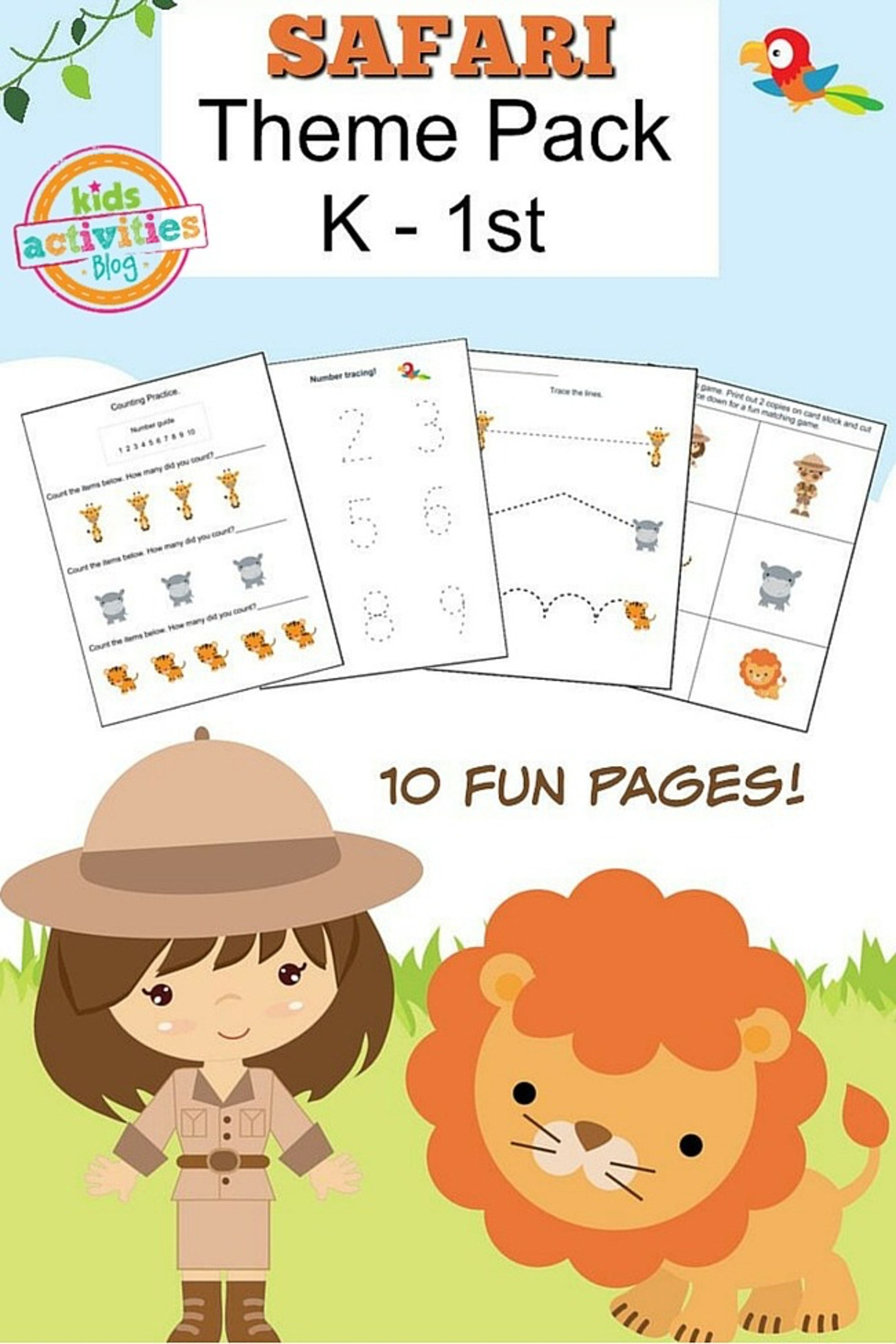 Safari Preschool Printable Worksheet