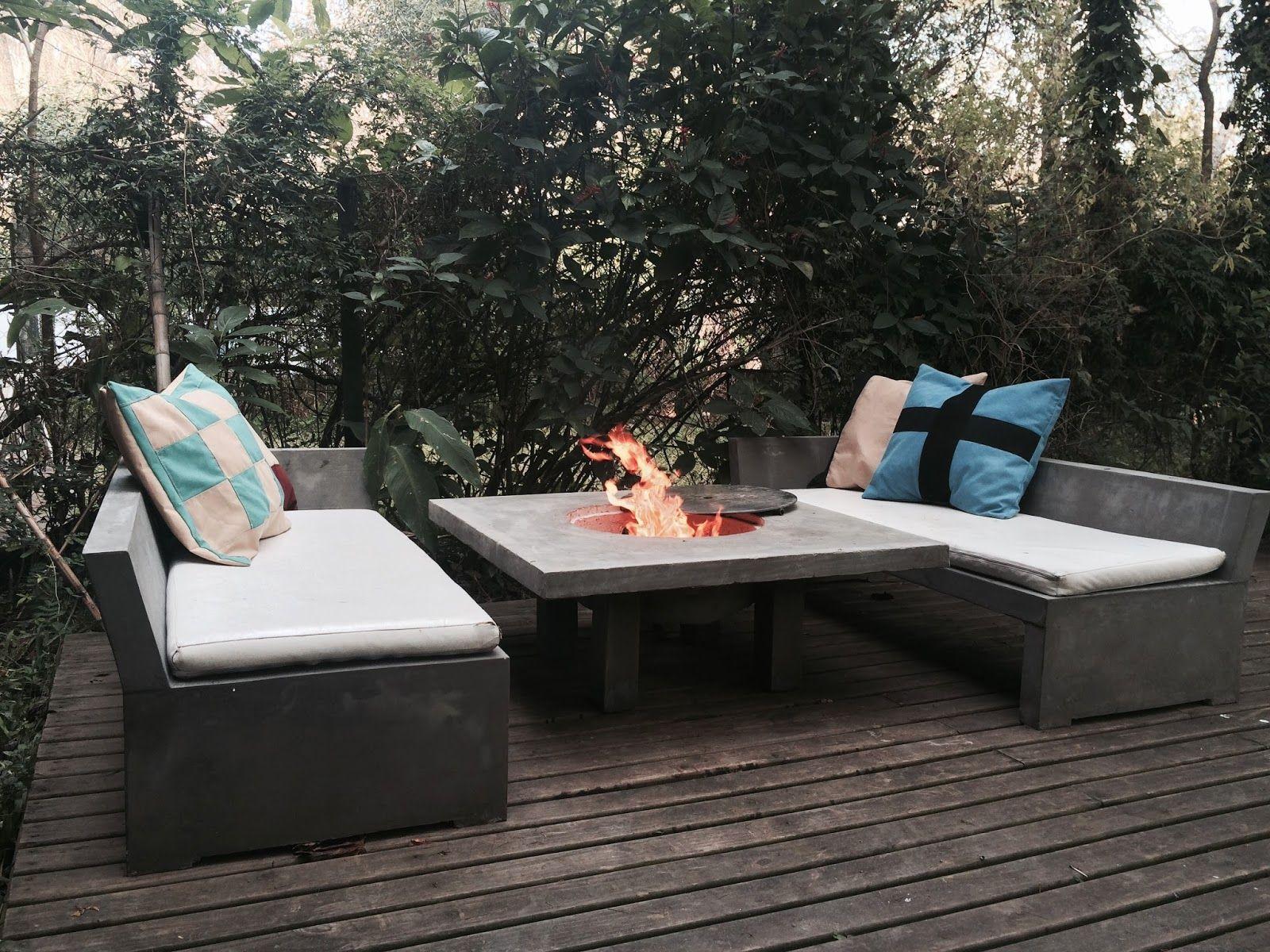 Muebles En Cemento Light Estilo Ribera 4 Set Camastro  # Muebles Cemento Liviano