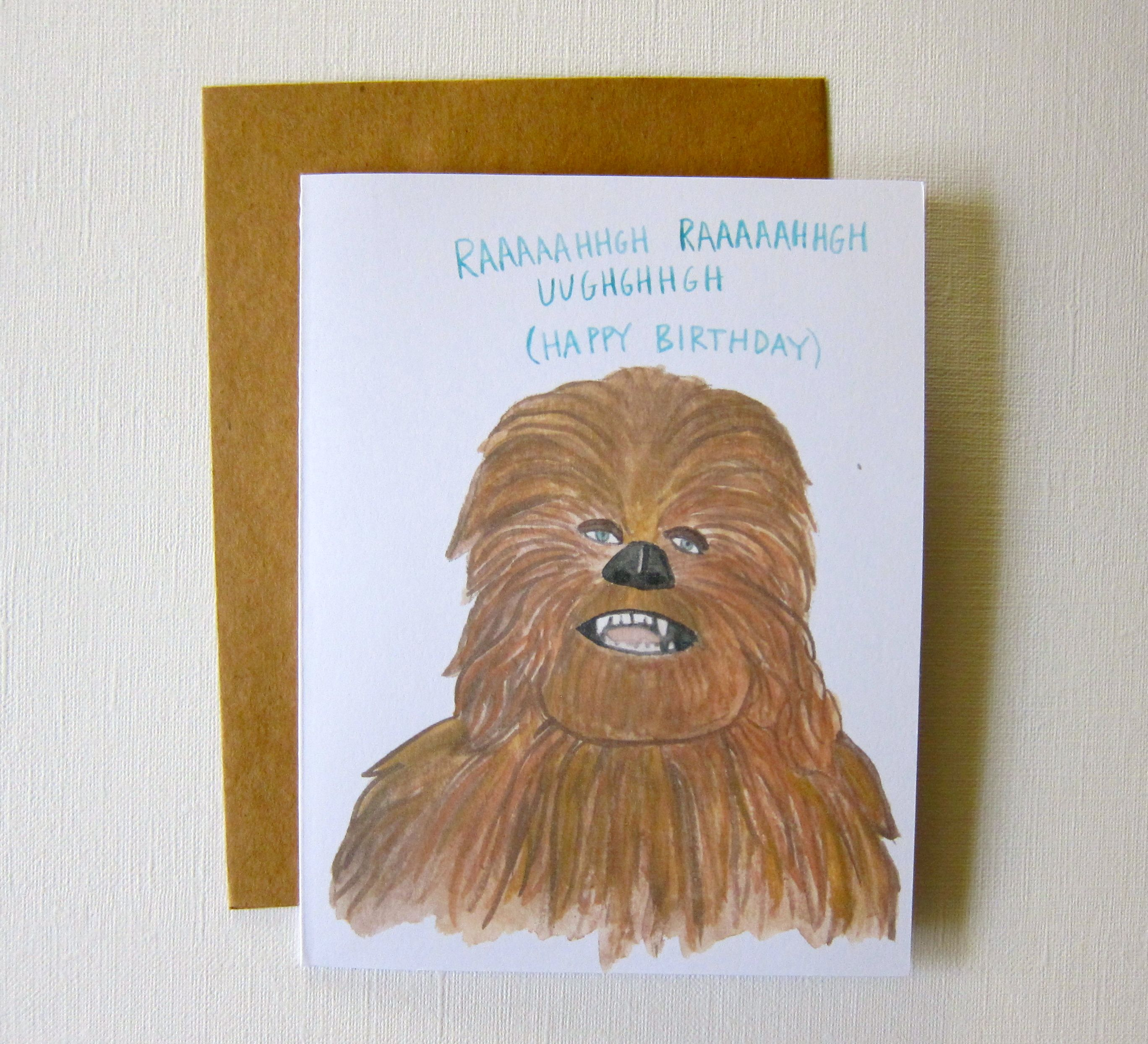 Star wars birthday card chewbacca funny star wars birthday chewbacca star wars birthday card bookmarktalkfo Choice Image