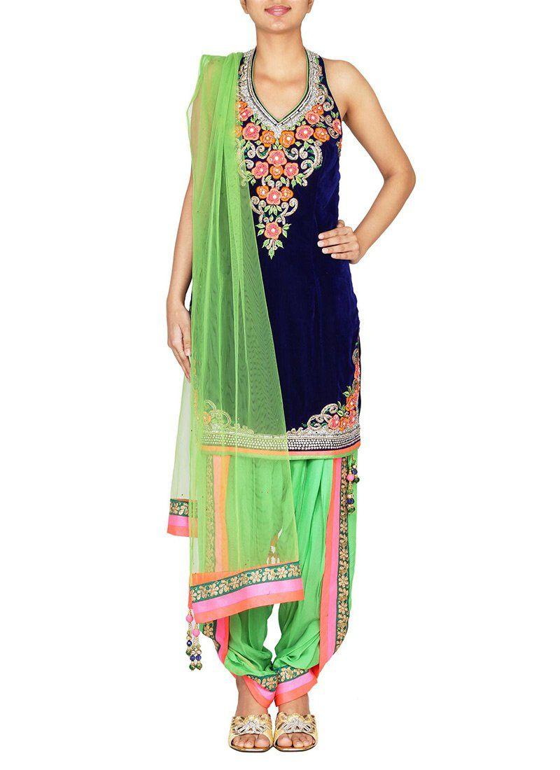 Blue velvet dhoti style patiala suit indian fashion