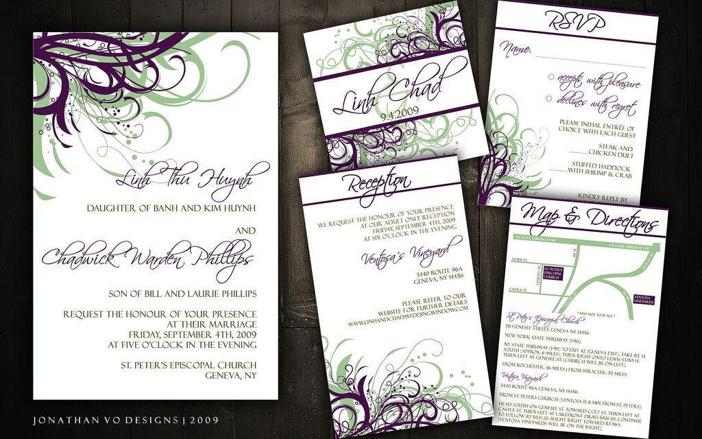 Wedding Invitations (Green + Purple) | Weddings and Wedding