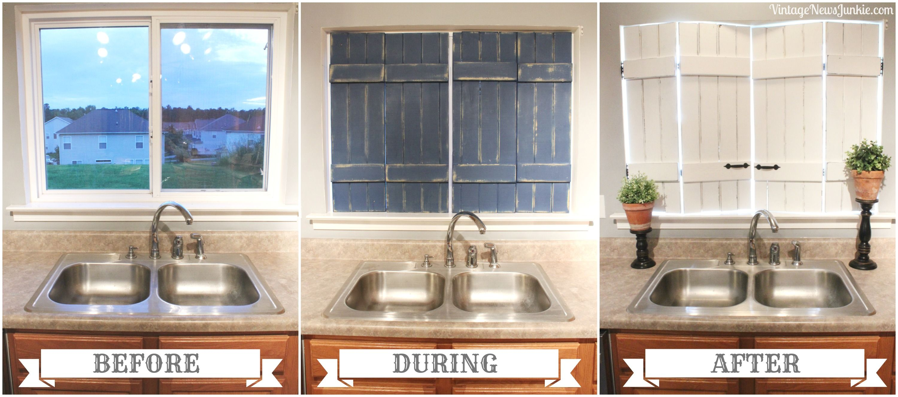 DIY Upcycled Shutter Before After made from bed slats by