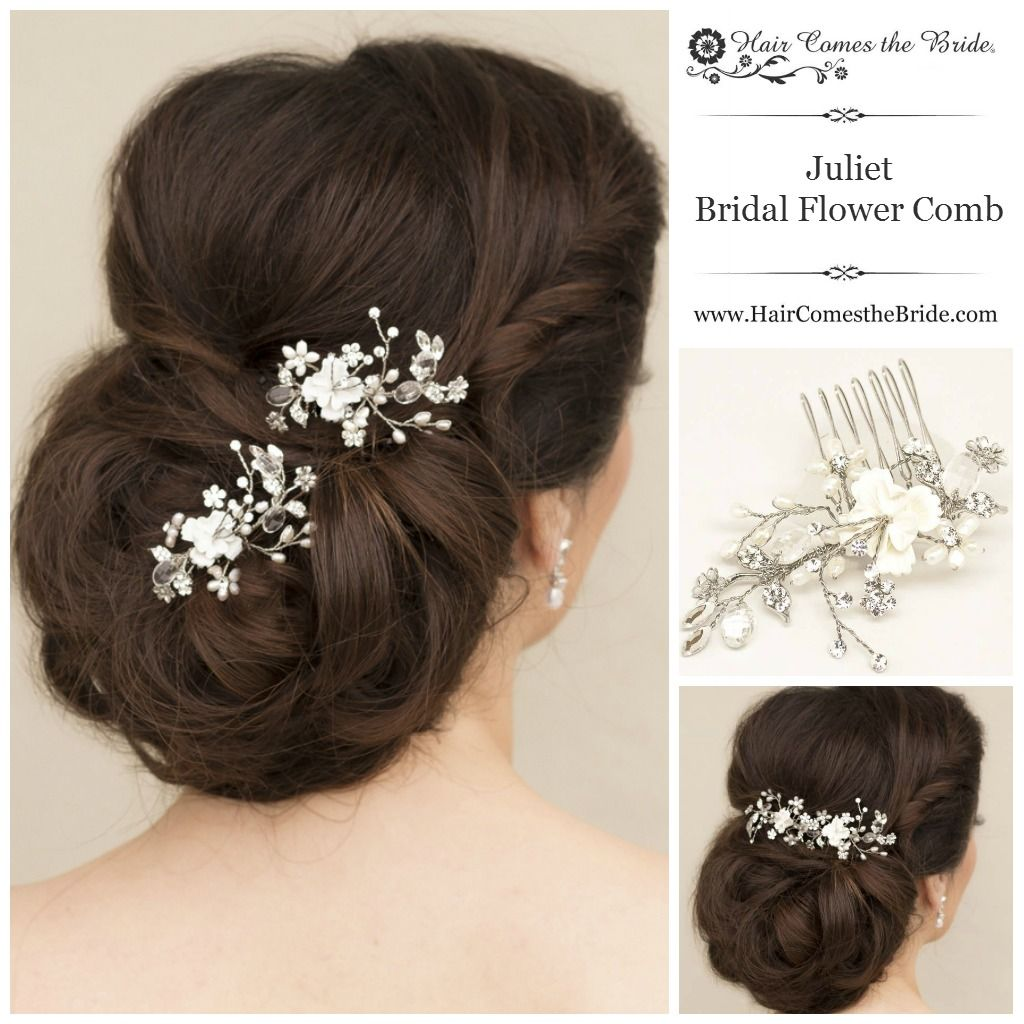 beaded bridal flower hair comb from hair comes the bride ~ bridal