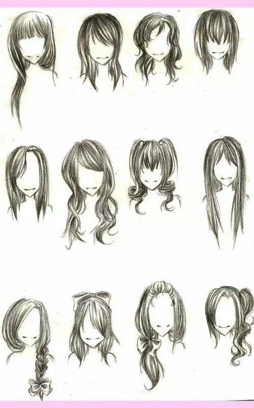 Mangá Cabelos Femininos Cabelo Desenho Esboço De Cabelo E