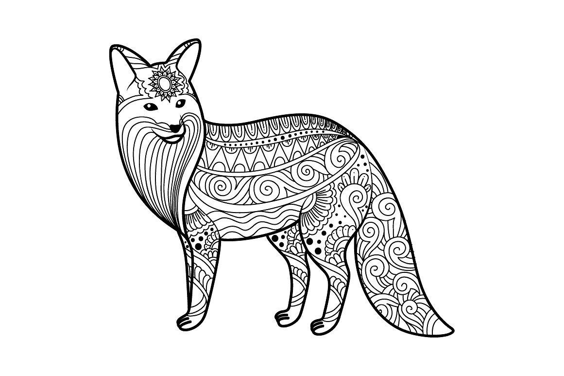 Zen Tangle Animals And Ornaments Fox Coloring Page Adult Coloring Pages Animal Coloring Pages