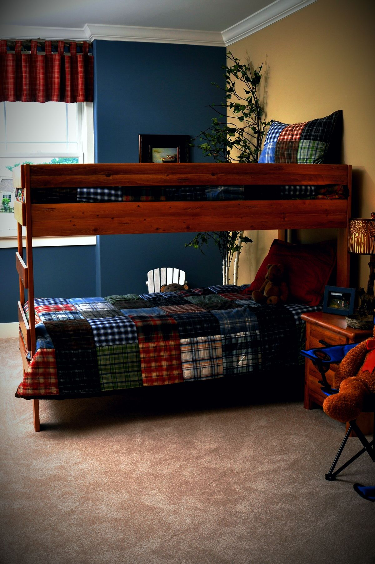 Two Different Colored Walls With Another Color Valance.Boys Bedroom    Outdoor/Camping Theme With Blue/tan Walls, Bunkbeds, Patchwork Quilt.