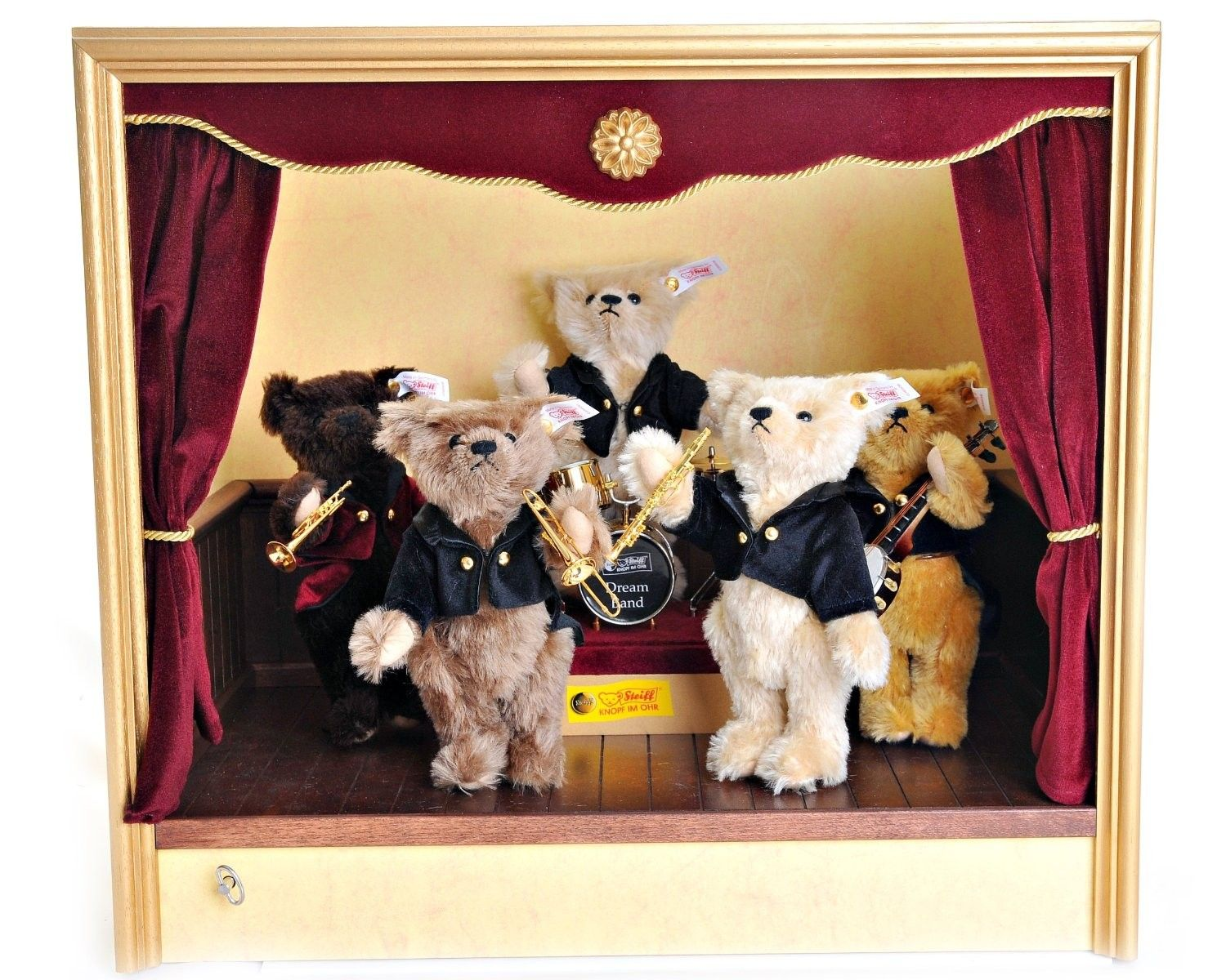 """STEIFF Millennium Band Stand - EAN 038808 Limited Edition of 2000 pieces worldwide Issued in the year 2000 to celebrate the Millennium, with a music box mechanism that plays """"When the saint go marching in"""""""