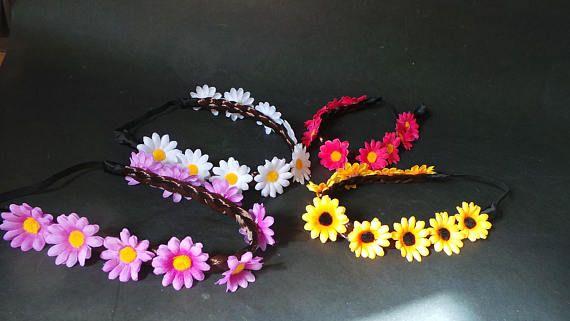 Daisy headband Plaited Synthetic Brown Hair Garland. White