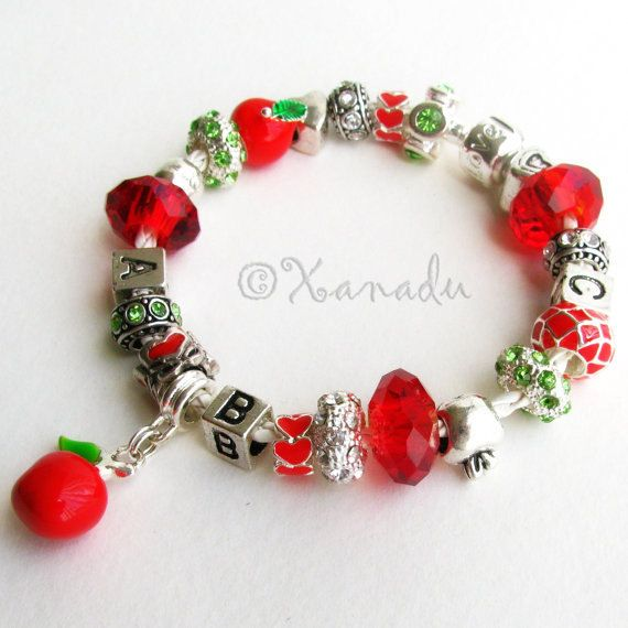 Teacher S Pet European Style Charm Bracelet Red Crystal Large Hole Beads Silver Le Charms Leather Gift For Teachers
