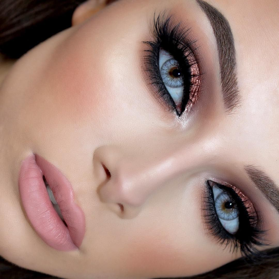 """Warm, copper smokey eye to really compliment blue & green"