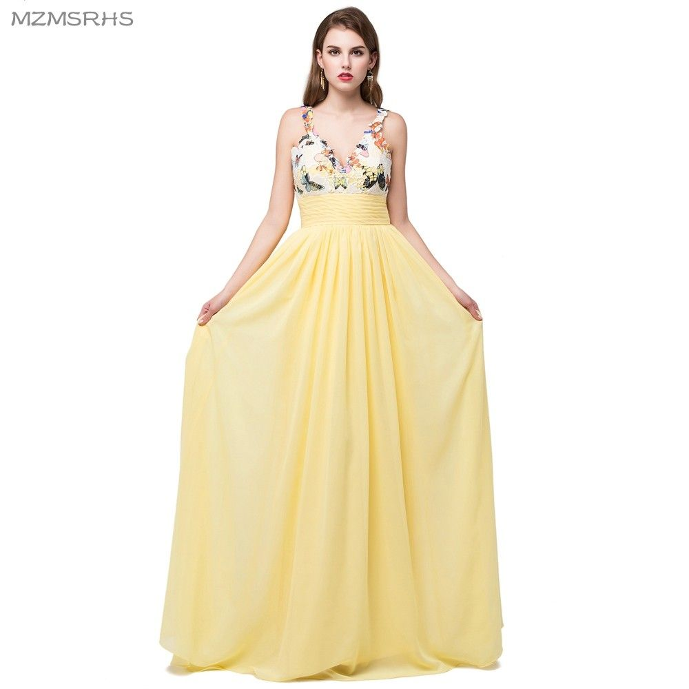 Click to buy ucuc mzmsrhs new exquisite yellow chiffon long prom