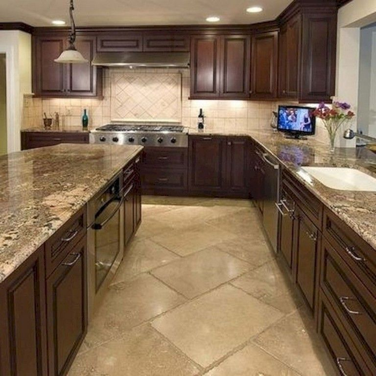 39 Beautiful Kitchen Floor Tiles Design Ideas Kitchen Backsplash Tile Designs Kitchen Floor Tile Cherry Cabinets Kitchen