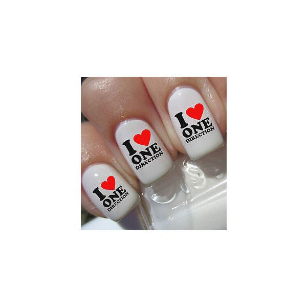 40 I LOVE ONE DIRECTION Nail Art Decals Wrap Stickers Water Transfer... ❤ liked on Polyvore featuring beauty products, nail care, nail treatments, nails, one direction and nail polish
