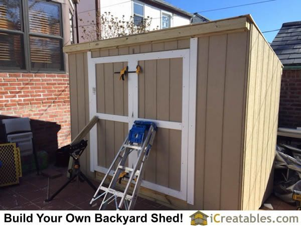 Hanging The Shed Doors The Doors Must Be Held In Place With Proper Spacing Before The Hinges Are Installed Lean To Shed Plans Shed House Plans Shed Plans