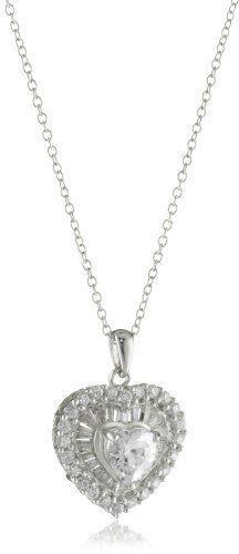 Diamonesse Rhodium Plated Sterling Silver Heart Pendant Neck $79.99
