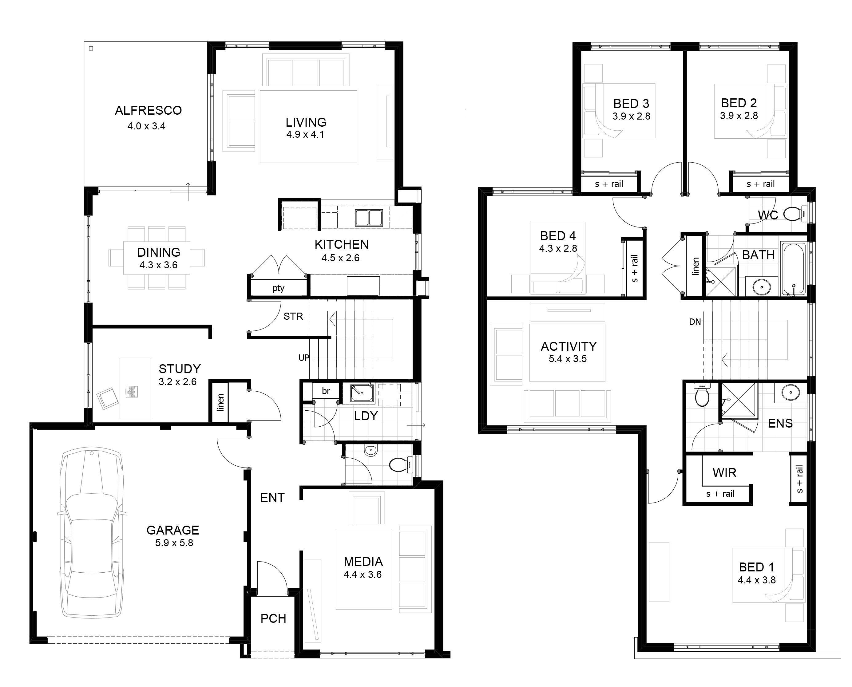 Two Storey House Floor Plan Homes Floor Plans In 2020 Double Storey House Plans Two Storey House Plans House Plans Australia