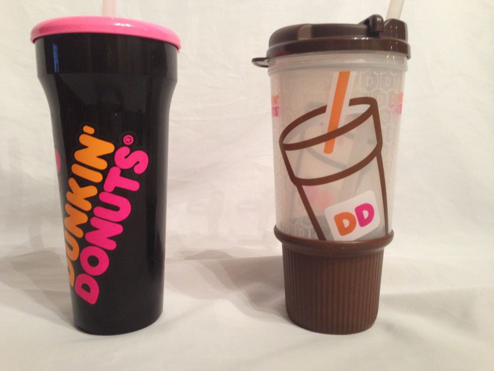 2  Dunkin Donuts  Travel Cups Straw Black Brown Iced Coffee Cold Hot Drink #DunkinDonuts