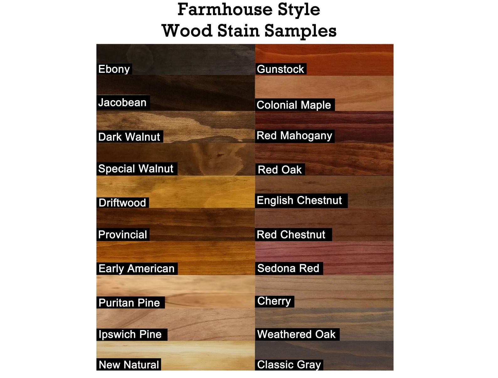 Farmhouse stain samples wood tile samples of stain