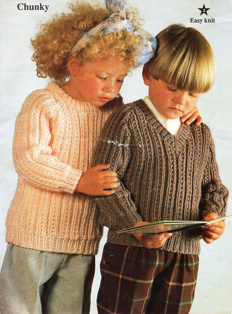 """childs / childrens chunky patterned sweaters knitting pattern PDF v or crew neck jumper 22-32"""" chunky bulky 12ply pdf instant download by Minihobo on Etsy"""