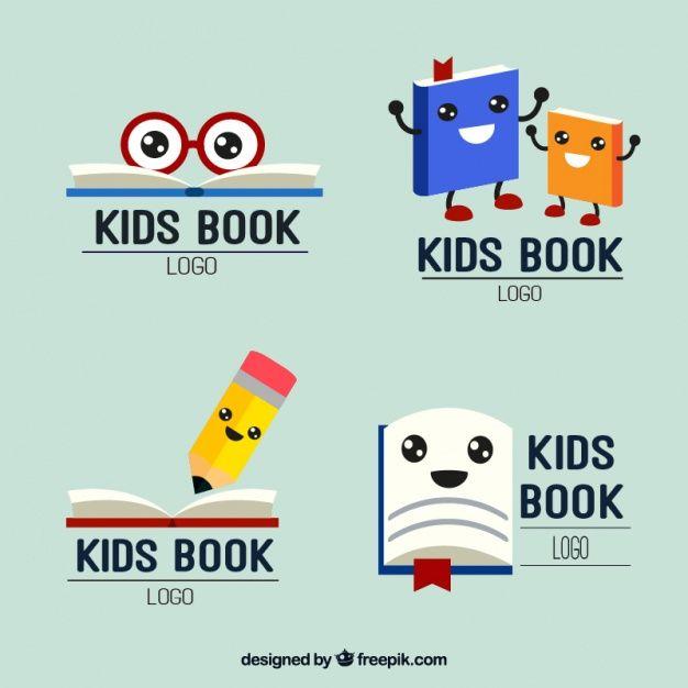 Download Set Of Nice Kids Reading Logos For Free Book Logo Kids