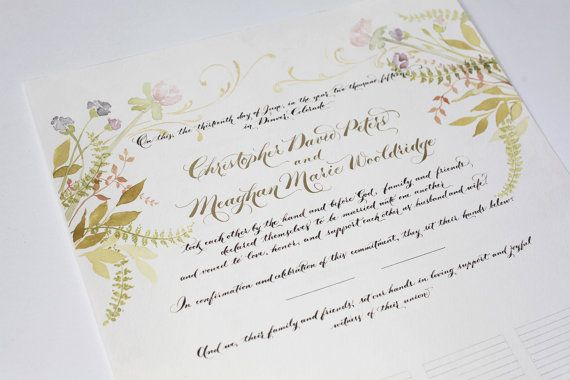 Wedding Guestbook, Marriage Certificate, Custom Calligraphy and - marriage certificate