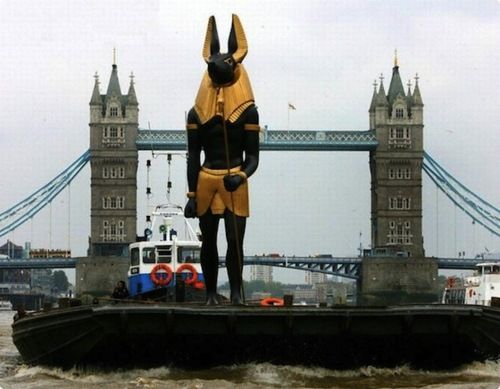 Giant statue of Anubis cruises down the Thames to promote a Tutankhamun exhibition in november of 2007.