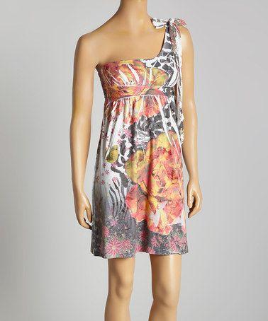 Black & Rust Jungle Asymmetrical Dress #zulily #zulilyfinds
