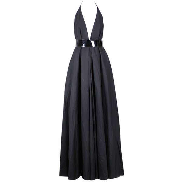 Pre-owned YSL Iconic Halter Gown (€1.405) ❤ liked on Polyvore featuring dresses, gowns, long dresses, vestidos, evening dresses, black ball gown, long black evening dresses, vintage black dress, black cotton dress and vintage dresses