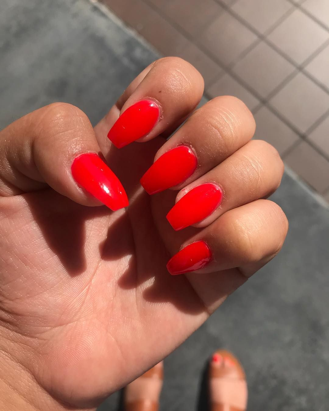 Orange Red Summanails Summerlook Summer Summernails Orange Red Socute Shiny Nails Nailsdid Cherry Cher Red Acrylic Nails Red Nails Bright Red Nails