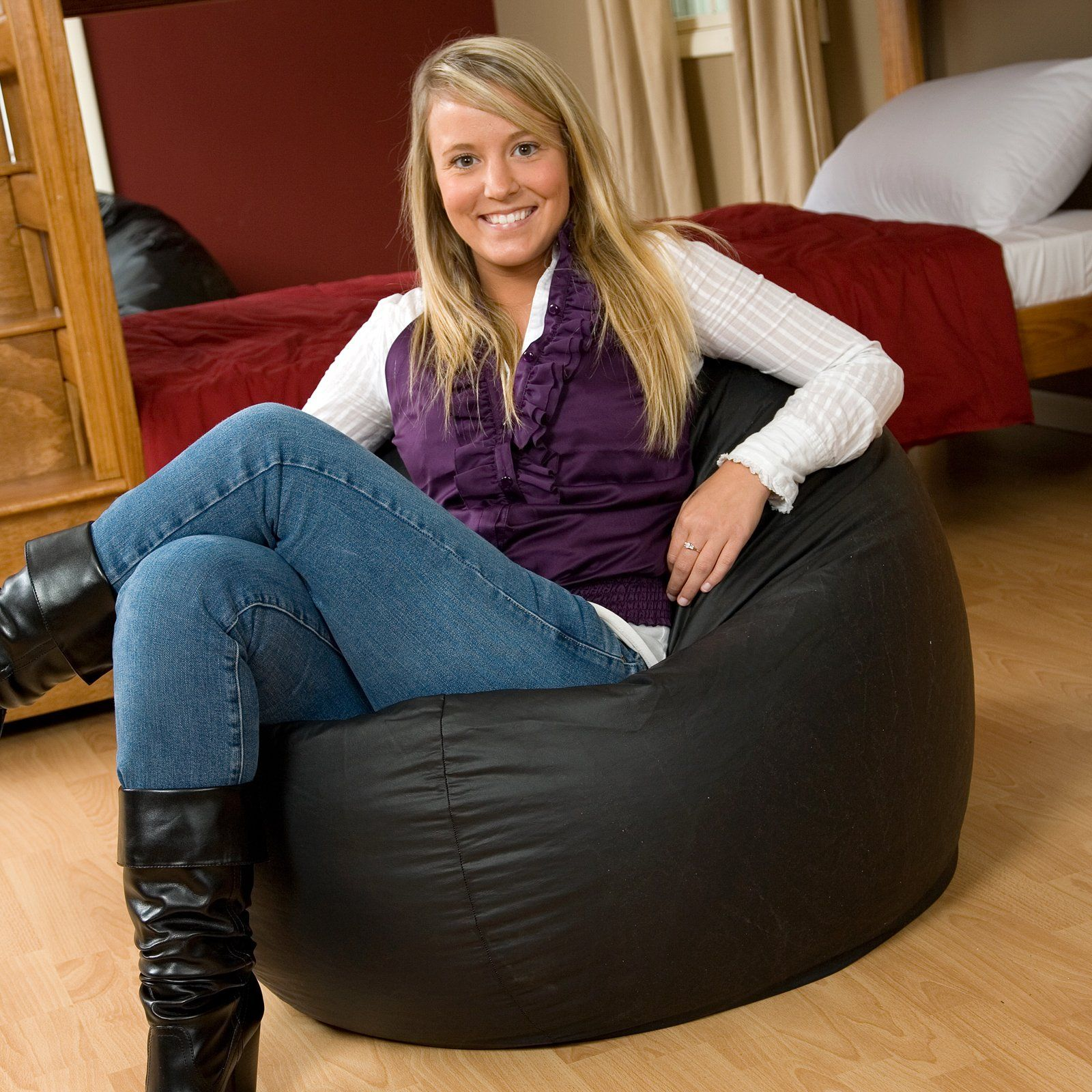 Large Vinyl Puck Bean Bag Chair $89.98