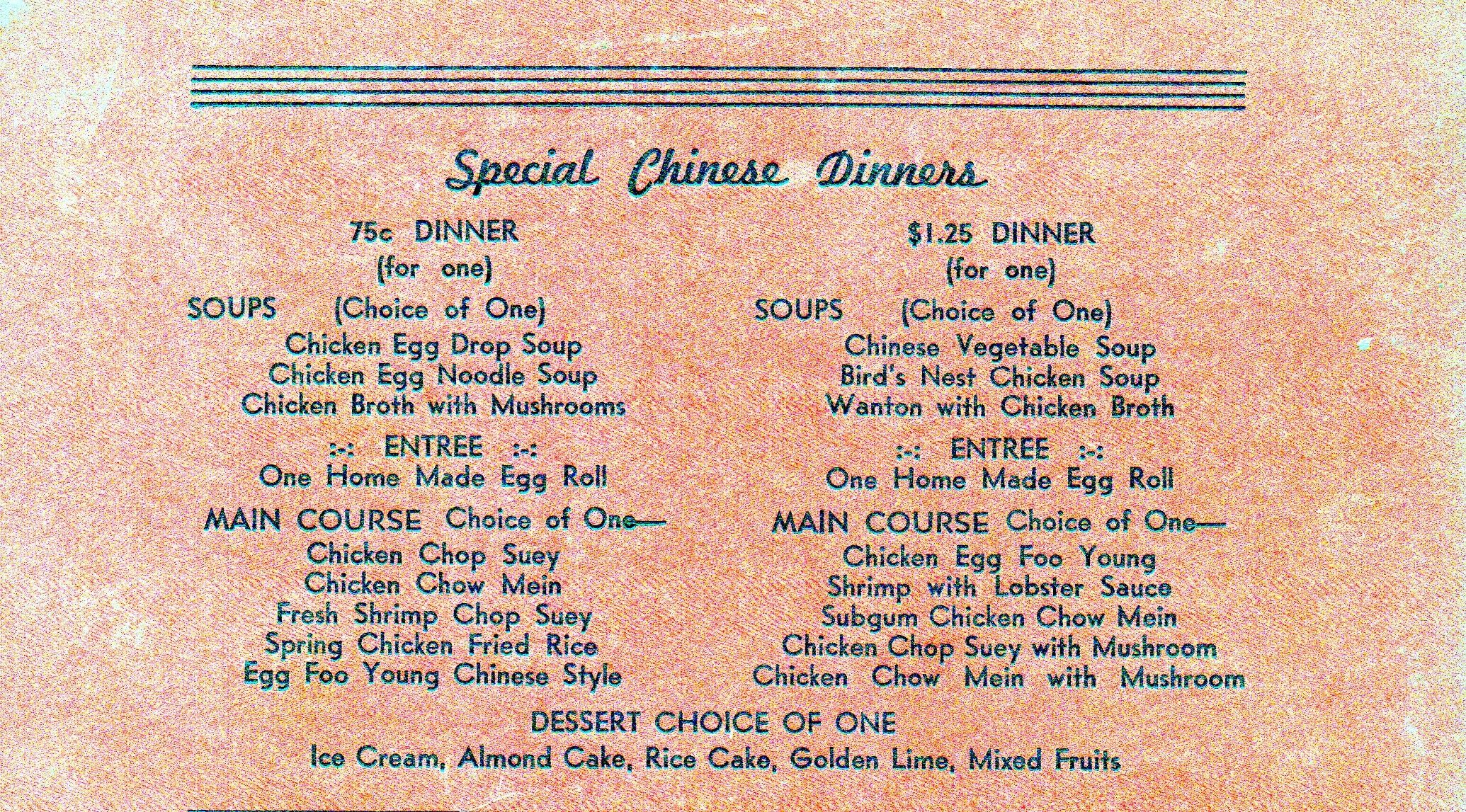 A 1960s menu from a chinatown restaurant chinatown