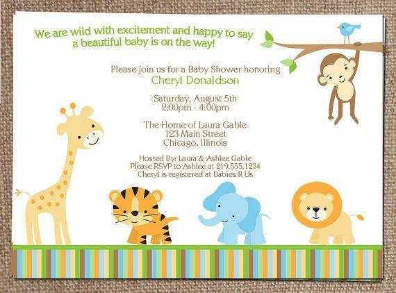 digital jungle theme baby shower invitation, safari, zoo, animals, Baby shower invitations