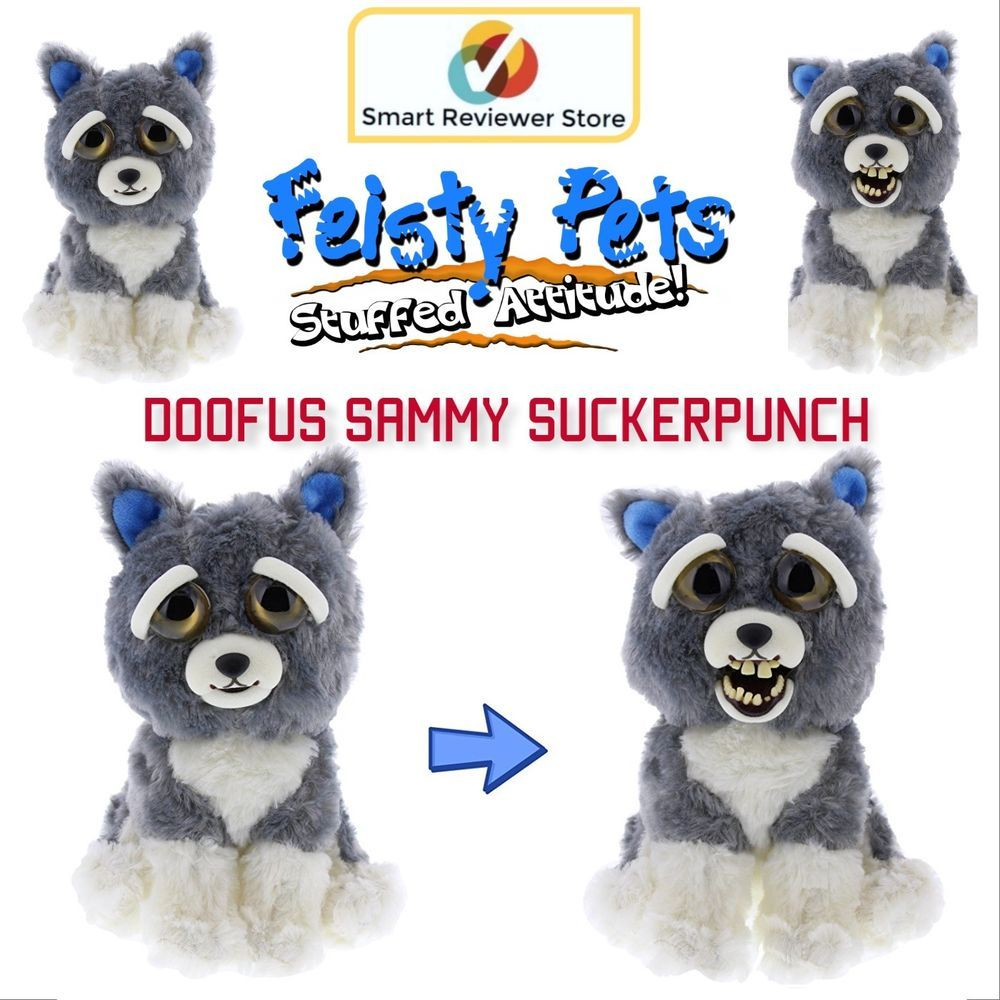 Feisty Pets Cute To Doofus Stuffed Animal Plush Squeeze Toy Sammy