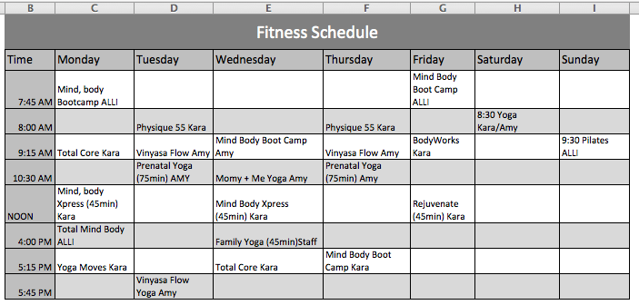 Fitness Schedule Template | Official Templates | Pinterest