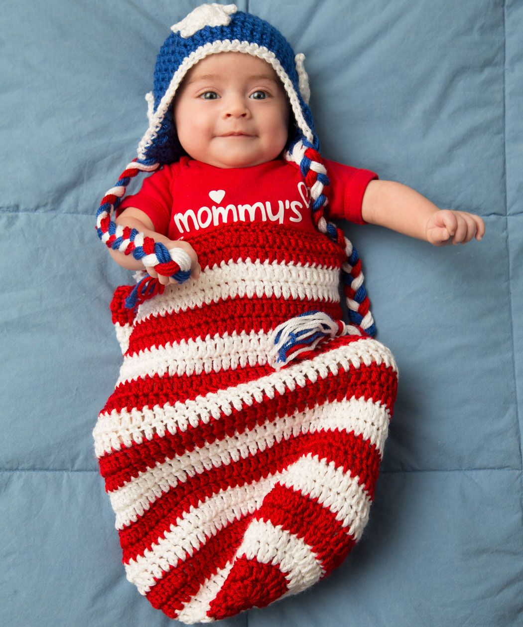 Patriotic baby cocoon very cute but i think the braids on the hat patriotic baby cocoon hat free crochet pattern from red heart yarns bankloansurffo Image collections