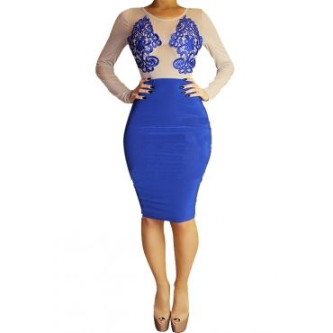 Cheap Fashion O Neck Long Sleeves Patchwork Embroidered Blue Blending Sheath Knee Length Dress