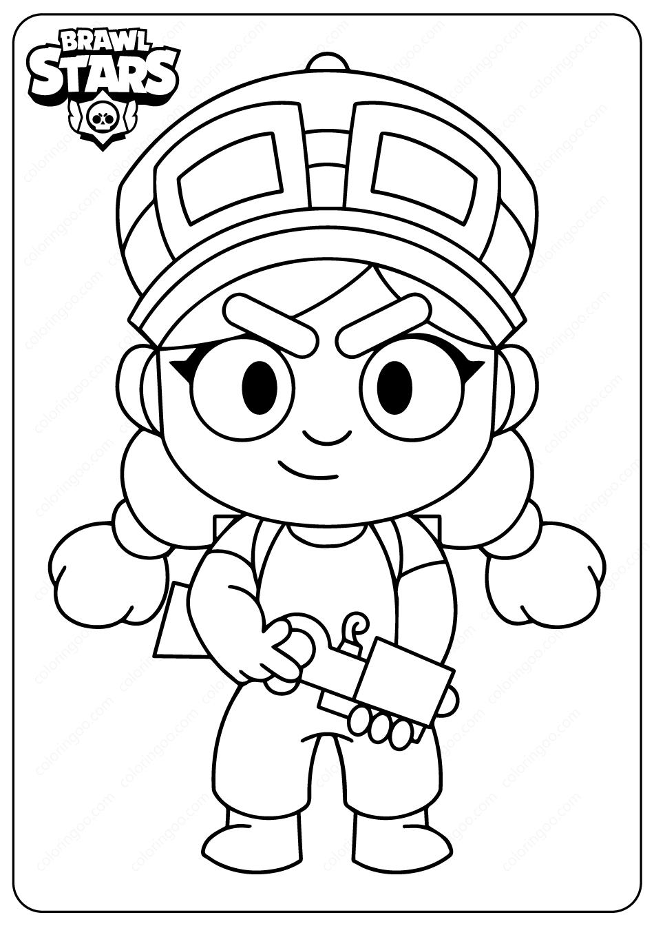 Printable Brawl Stars (Jessie) PDF Coloring Pages, 2020