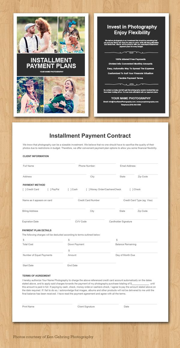 Installement Payment Plan Contract For Photographers Wedding Photography Pricing Marketing