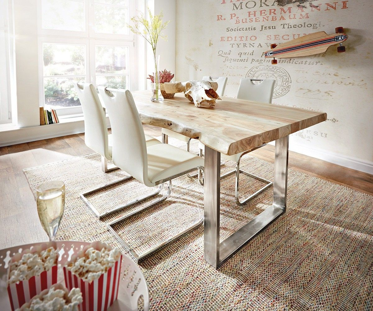baumtisch live edge 140x90 akazie gebleicht platte 5cm gestell schmal m bel tische esstische. Black Bedroom Furniture Sets. Home Design Ideas