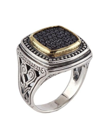 Konstantino Asteri Ornate Wide Black Diamond Band Ring, Size 7