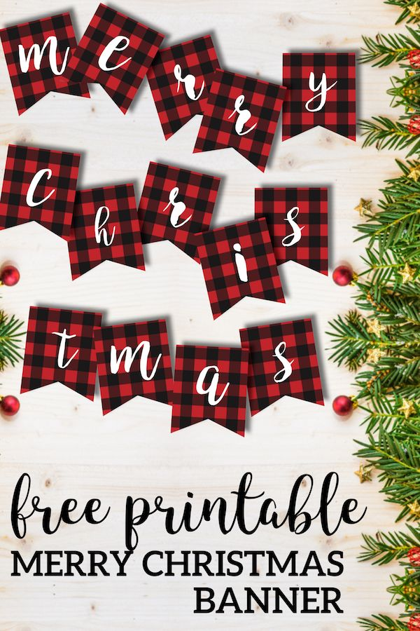 Free Printable Merry Christmas Banner. Buffalo plaid rustic red check banner. Cute, easy, and cheap Christmas decor for your home. #papertraildesign #Christmas #buffaloplaid #Christmasplaid #RusticChristmas #CountryChristmas #ChristmasPrintables #MerryChristmas #ChristmasDecorations #ChristmasMood #ChristmasSpirit #ChristmasAroundTheCorner