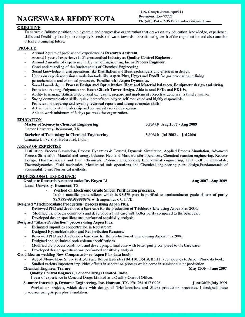 Objective Statement Resume Engineering