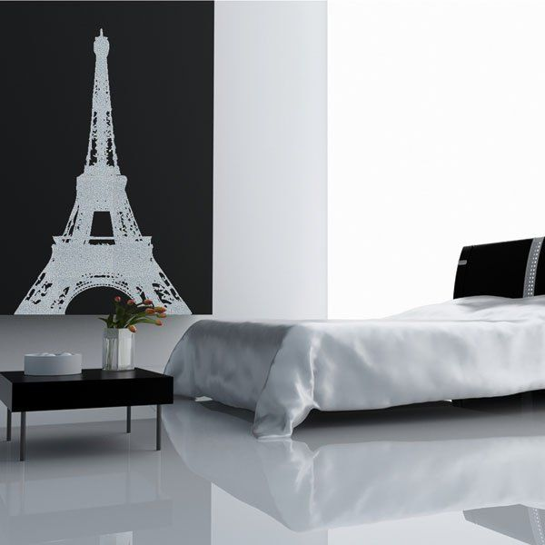 Amazing Paris Themed Room Ideas And Items : Cool Paris Themed Room Ideas  And Items With White Black Wall Bed Pillow Blanket Table Flower Decor And  Eiffel ...