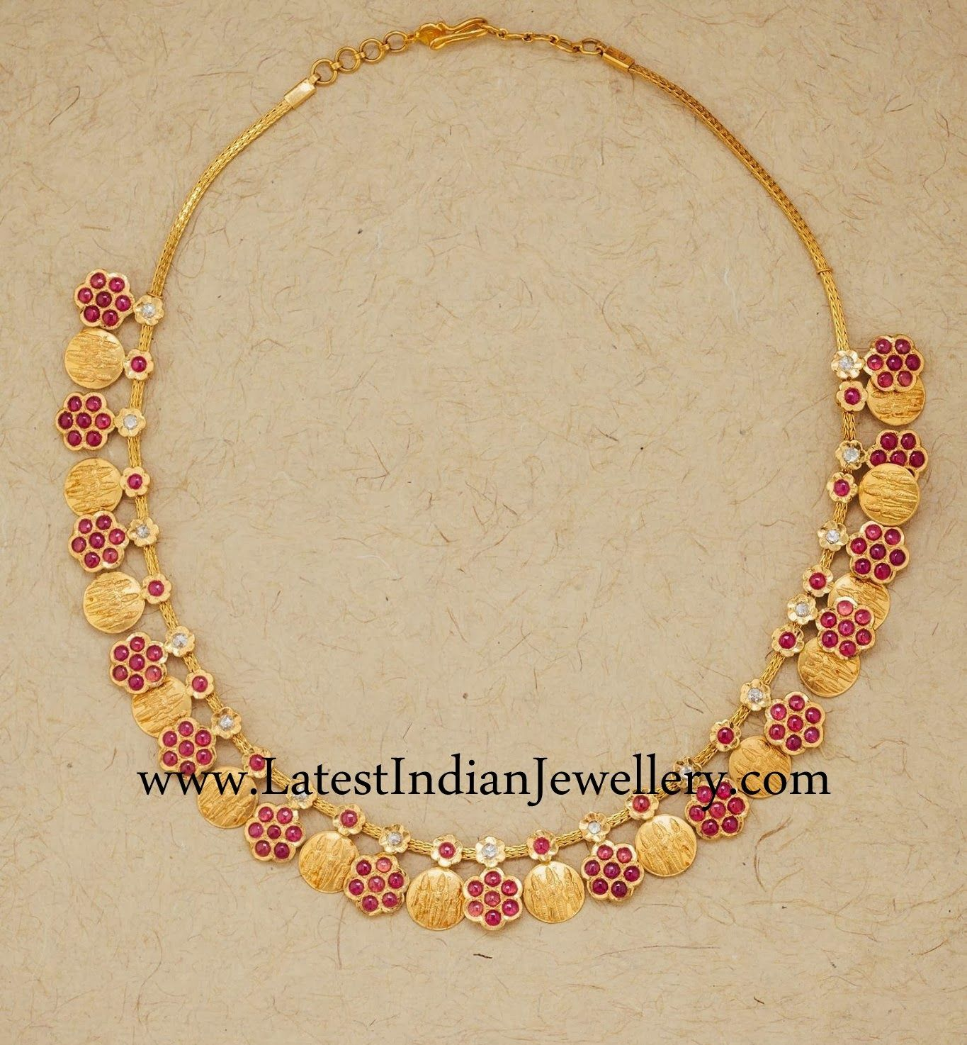 Ruby And Gold Kasu Necklace  Latest Indian Jewellery Designs