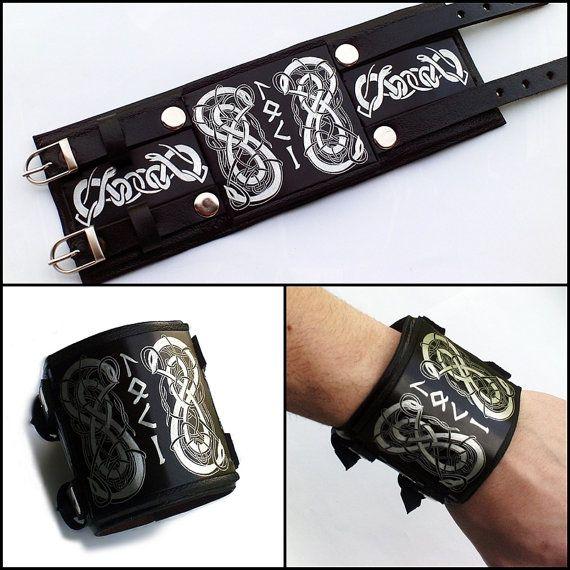 Loki Viking Bracelet Viking Leather Wristband Viking Leather Cuff