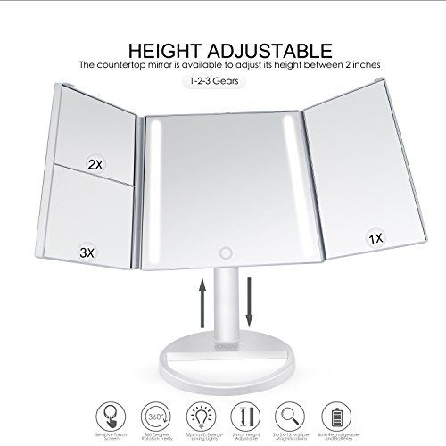 VONDAVO Kosmetikspiegel mit Beleuchtung 32 Led Licht ELander faltbar - spiegel badezimmer mit beleuchtung