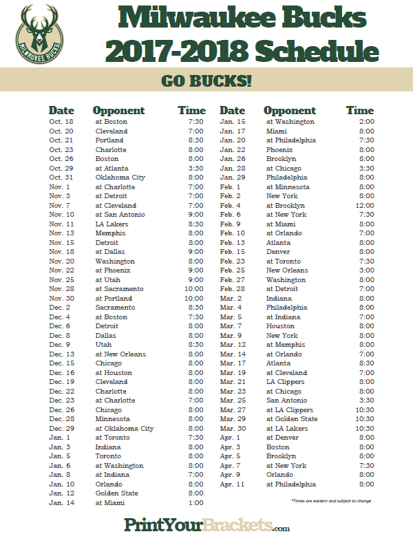 graphic relating to Celtics Schedule Printable identified as 2017-2018 Milwaukee Dollars Plan Printable NBA Schedules