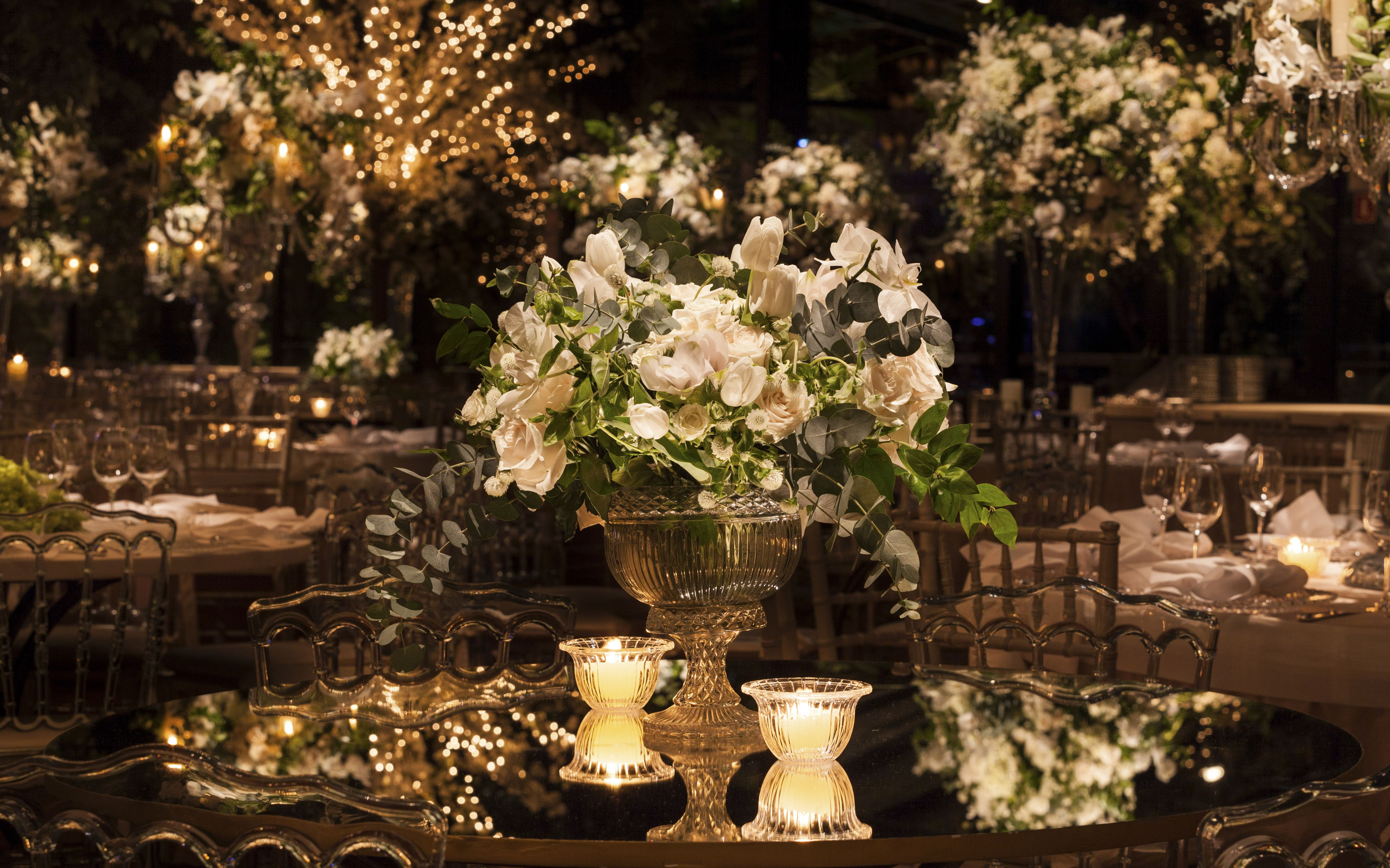 Decorated Tables Wedding Decorated With Mirror Table Top White Flowers And Candles